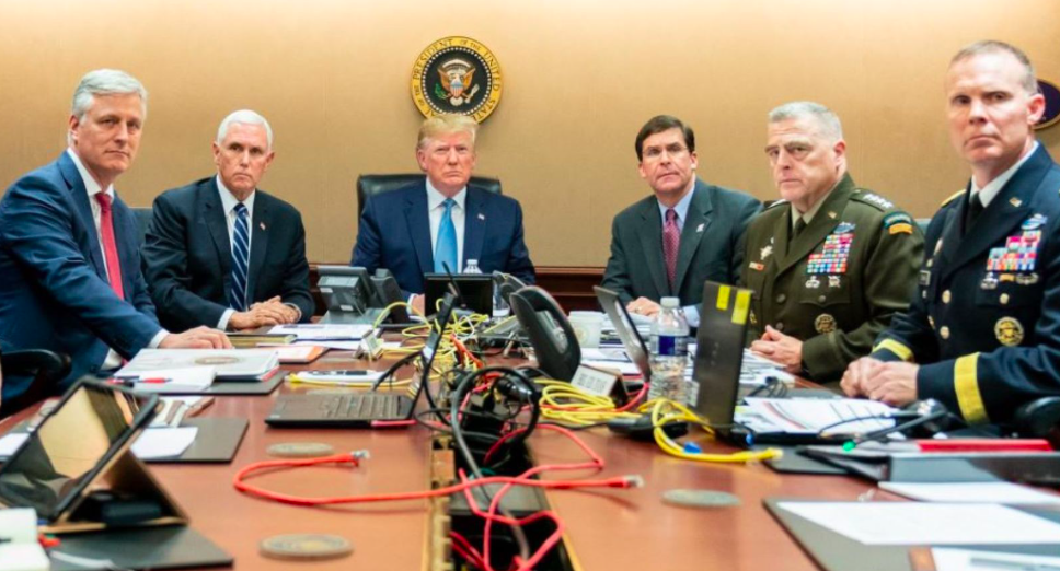 President Trump watches the operation to kill ISIS leader Abu Bakr al-Baghdadi in the White House Situation Room. From left is National Security Adviser Robert O'Brien, Vice President Mike Pence, Secretary of Defense Mark Esper, Chairman of the Joint Chiefs of Staff General Mark Milley and Brigadier General Marcus Evans, Deputy Director for Special Operations.